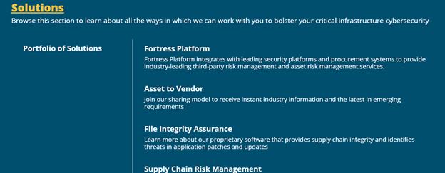 Fortress solutions menu screenshot