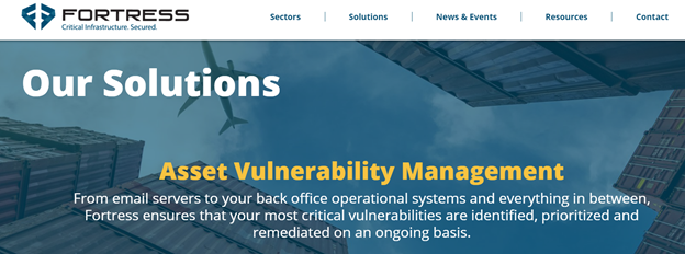 Fortress solutions page screenshot